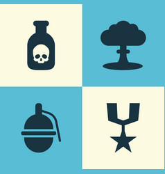 Warfare icons set collection of order danger vector