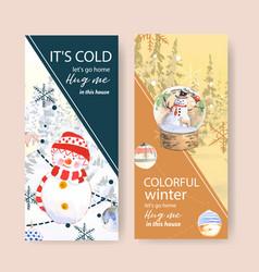 Winter home flyer design with snowman watercolor vector