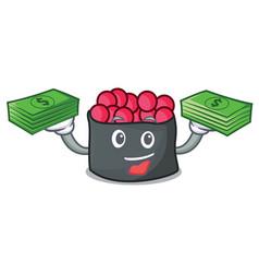 With money bag ikura mascot cartoon style vector