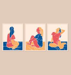 Woman silhouette modern art style woman in t vector