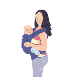 Young mother carrying her baby in ergo backpack vector