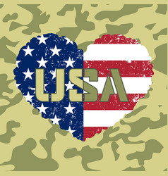 american flag heart military vector image