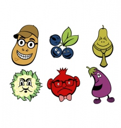 fruits and vegetable icons set vector image