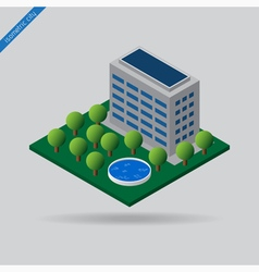 isometric city - trees swimming pool and building vector image