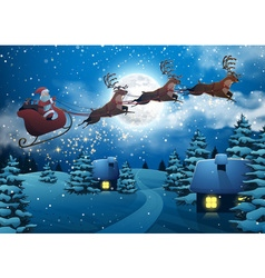 Santa Claus Flying on a Sleigh with Deer House vector image