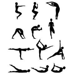 set of twelve abstract female yoga poses vector image