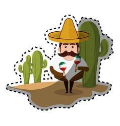 sticker background cactus with man mexican and vector image vector image