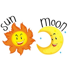 Sun and moon with happy face vector image vector image
