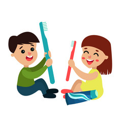 sweet little boy and girl characters sitting on vector image
