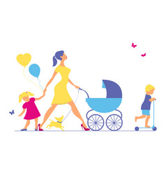 woman with two children and dogs super mother vector image