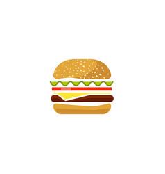 Burger icon isolated flat cartoon sandwich vector
