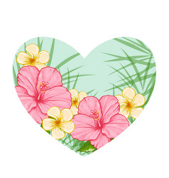 green heart of tropical flowers vector image vector image