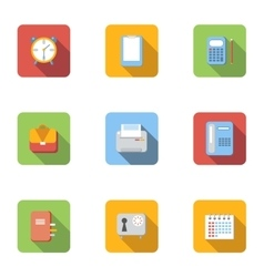 Office supplies icons set flat style vector image