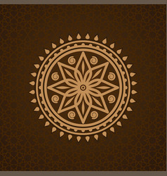 round pattern in arabic style on brown background vector image