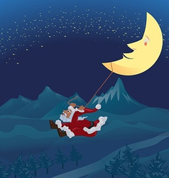 Santa swinging rope tie up with crescent moon in vector