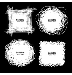 Set of White Hand Drawn Scribble Shapes vector image
