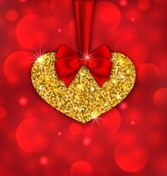 Shimmering Golden Heart with Red Ribbon vector image vector image