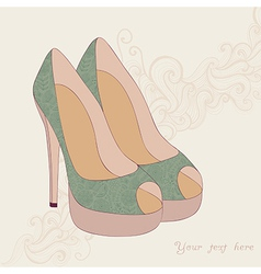 A high-heeled vintage shoes with flowers fabric vector image
