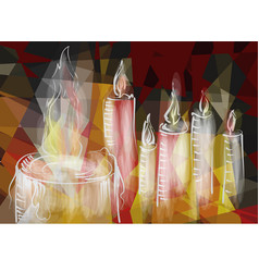 abstract burning candles vector image