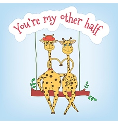 Couple of giraffes on a swing and the inscription vector