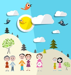 Family in Nature - Landscape vector image vector image