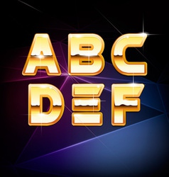 Golden Shiny Alphabet form A to F vector image vector image