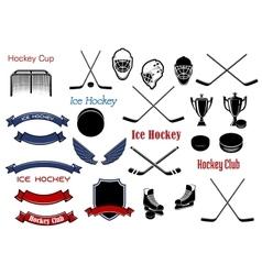 Ice hockey and heraldic symbols or items vector image