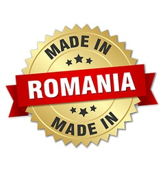 made in Romania gold badge with red ribbon vector image vector image