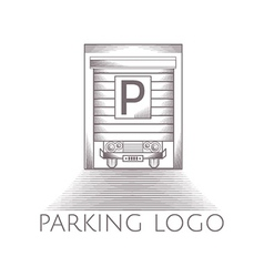 parking garage icon with text vector image vector image
