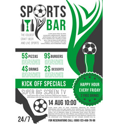 poster for soccer bar or football pub vector image