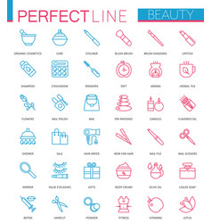 spa beauty and cosmetic color thin line web icons vector image