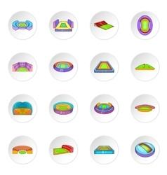 Sport stadium icons cartoon style vector image vector image