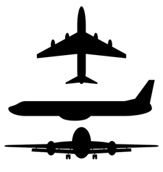 Airplane silhouette icons vector image