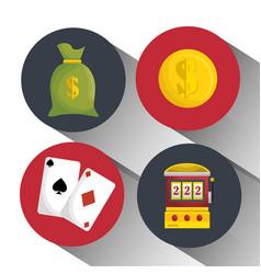 casino entertaintment set icons vector image