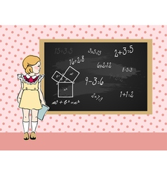 maths girl vector image