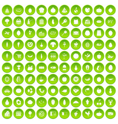 100 natural products icons set green circle vector image