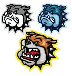 angry bulldog head mascot logo set design vector image