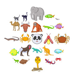 animals of the jungle icons set cartoon style vector image