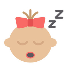 Baby girl sleep flat icon child and infant vector