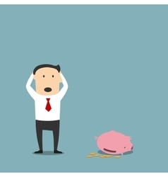 Bankrupt businessman with empty piggy bank vector
