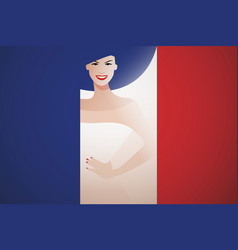 beautiful french woman integrated in flag of vector image