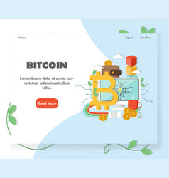 Bitcoin investment website homepage design vector