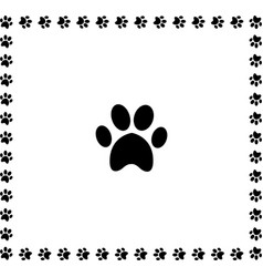 Black animal pawprint icon framed with paw prints vector