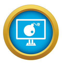 bomb on computer monitor icon blue isolated vector image