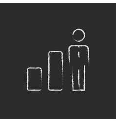 Businessman and graph icon drawn in chalk vector image