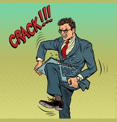 Businessman breaks laptop in rage vector