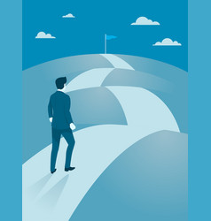Businessman walking steady to the top of mountain vector