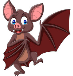 Cartoon bat waving isolated on white background vector