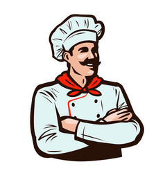 Cheerful chef in cook hat cooking food concept vector