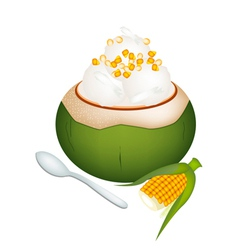 Coconut Ice Cream with Sweetcorns vector